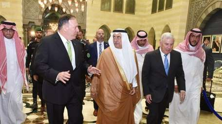 Secretary of State Mike Pompeo, left, with Saudi