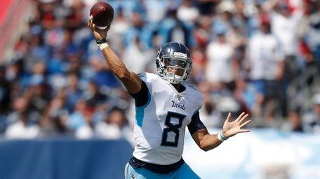 Tennessee Titans quarterback Marcus Mariota passes against the