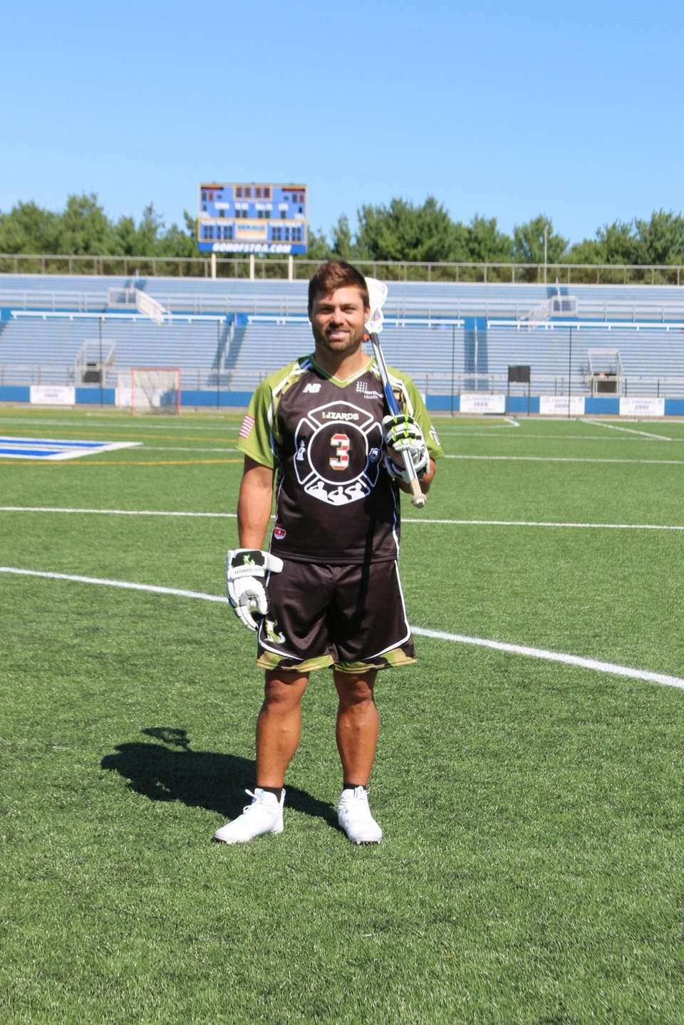 Lizards attacker Rob Pannell shows off the team's