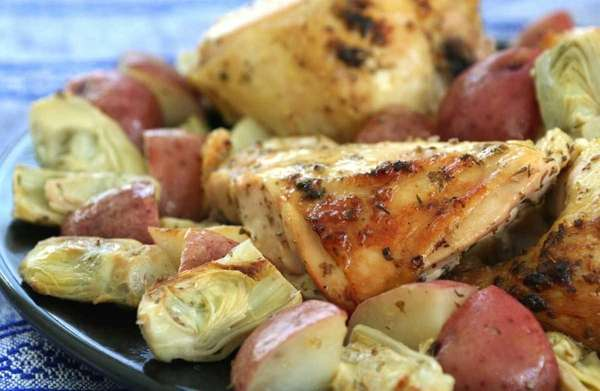 Chicken breasts, red bliss potatoes and artichoke hearts