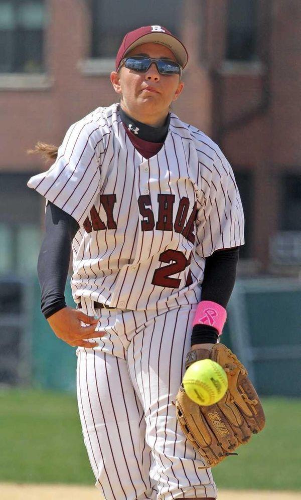 Bay Shore's Michelle Devito pitches against Connetquot. (April