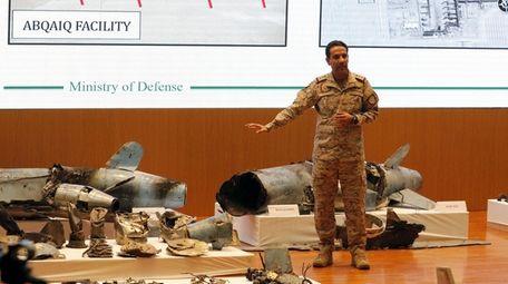Saudi Defense Ministry spokesman Colonel Turki Al-Malik addresses