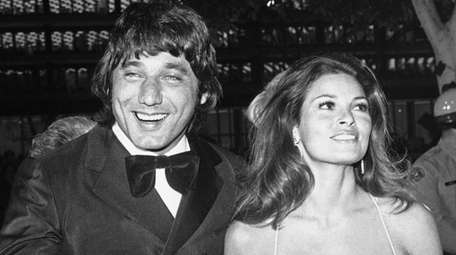 """Broadway Joe"" Namath arrives with actress Raquel Welch"