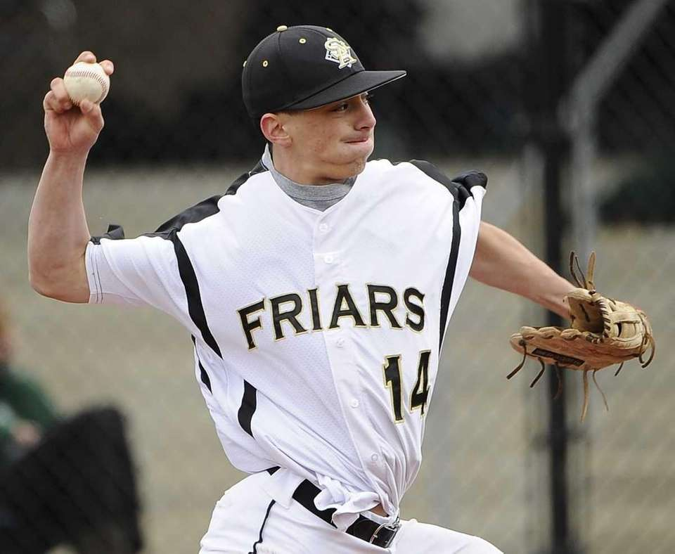 St. Anthony's starting pitcher Jonathan DeMarco throws against