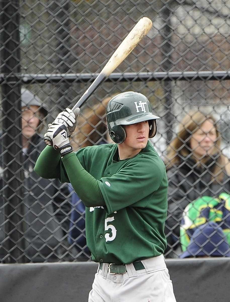 Holy Trinity shortstop Joey Devito bats against St.
