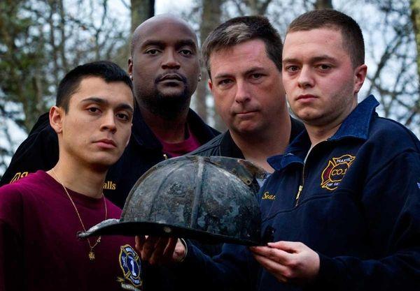 From left, Mastic Fire Department volunteers firefighters, David