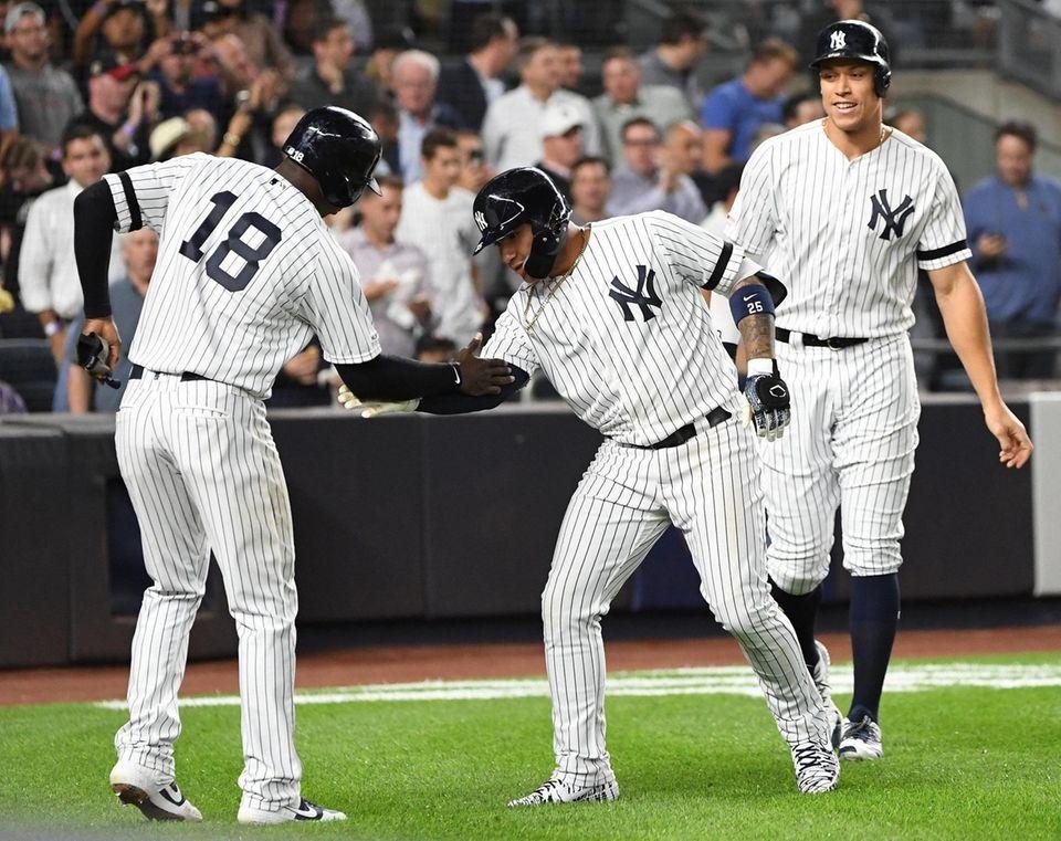 New York Yankees' Didi Gregorius congratulates Gleyber Torres