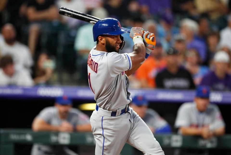 New York Mets' Amed Rosario singles off Colorado