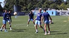 NYCFC midfielder Keaton Parks and head coach Domènec