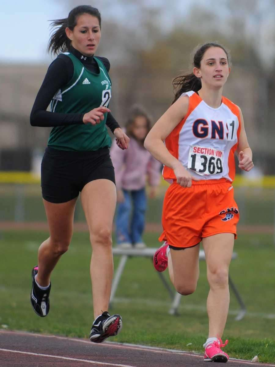 Great Neck South junior Hannah Siegel, right, and