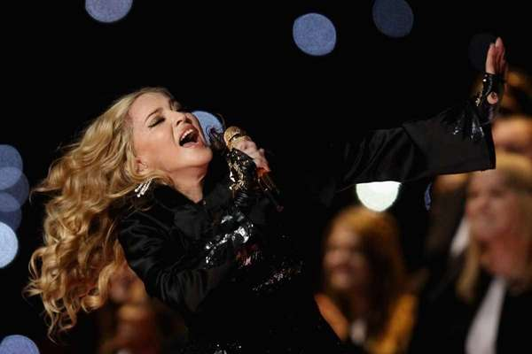 Singer Madonna performs during the Bridgestone Super Bowl