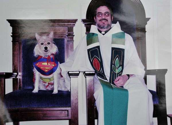 Pebbles, the Presbyterian Superdog, with Pastor Dennis Carter