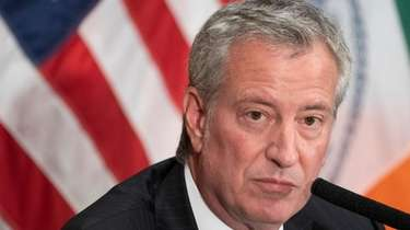 New York City Mayor Bill de Blasio takes