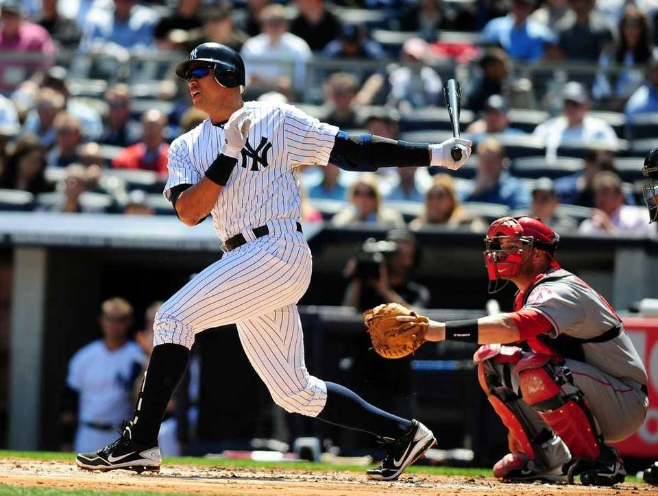 Alex Rodriguez singles in the first inning of