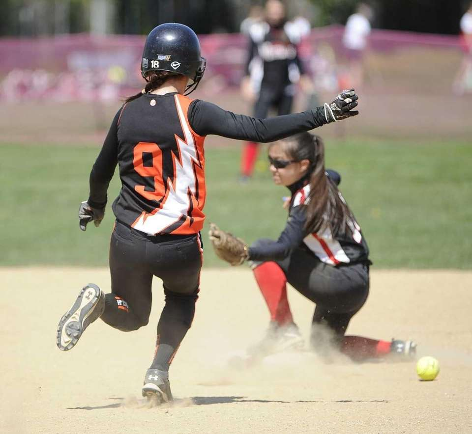 Babylon's Christine Desiderio steals second base as Mt.