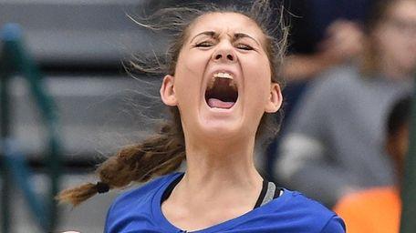 Viki Harkin of Mattituck reacts after her team's