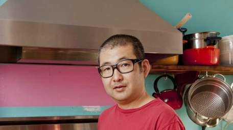 Hiroyuki Hamada with his dish, Crispy Fried Tofu