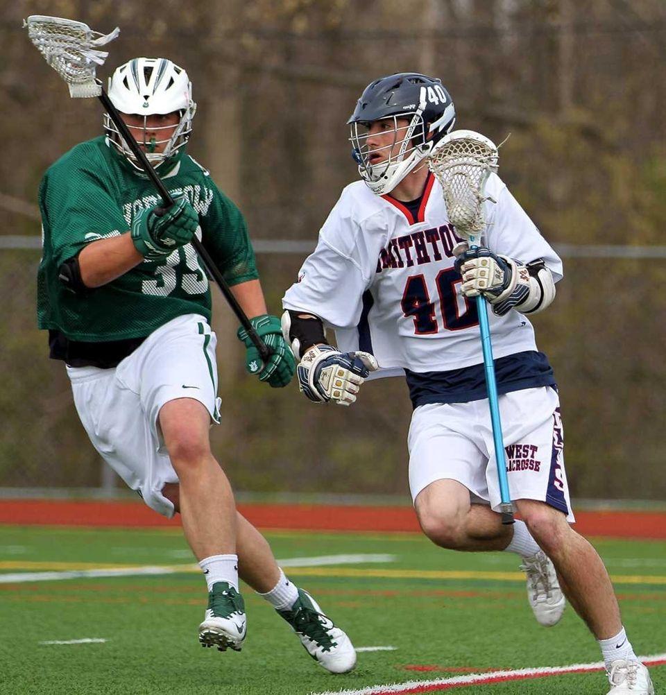 Smithtown West's Matt Schultz #40 blows past Yorktown's