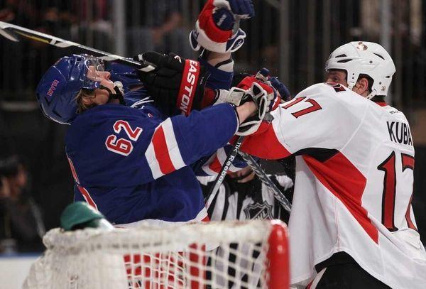 Filip Kuba of the Ottawa Senators takes a