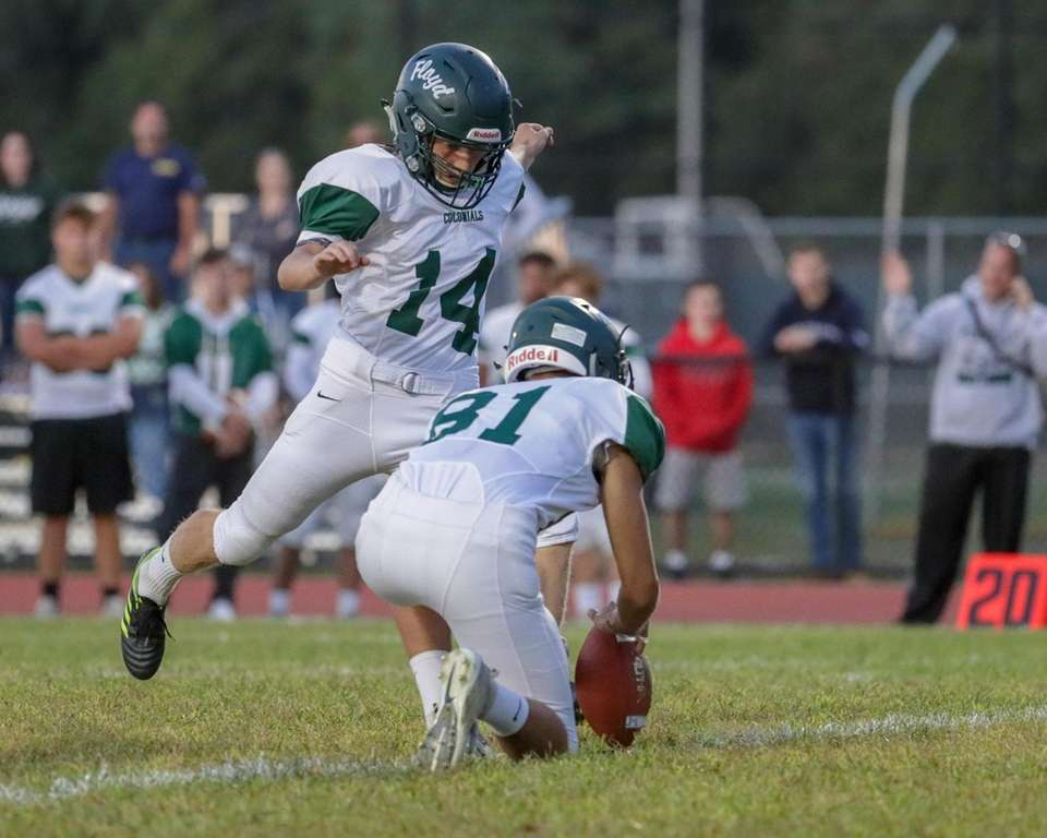 William Floyd's Biran Lombardo #14 kicks the extra