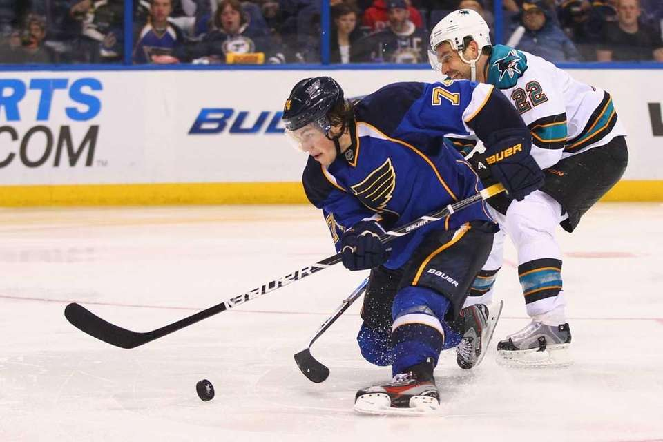 T.J. Oshie #74 of the St. Louis Blues