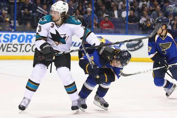 Douglas Murray of the San Jose Sharks defends