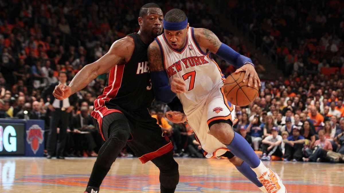 Carmelo Anthony of the New York Knicks drives