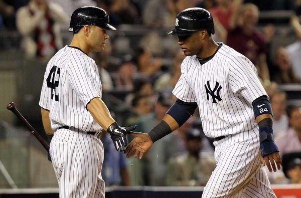 Robinson Cano of the New York Yankees celebrates