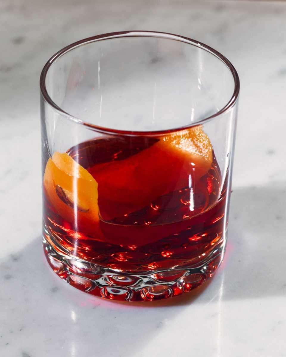 Negroni, made with Campari, gin and sweet vermouth,