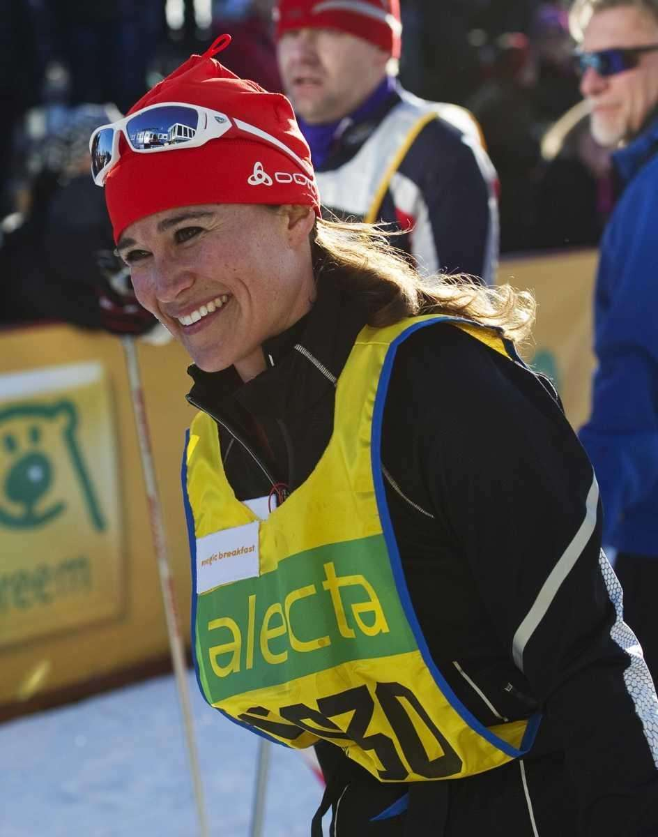 Pippa Middleton moments after crossing the finish line