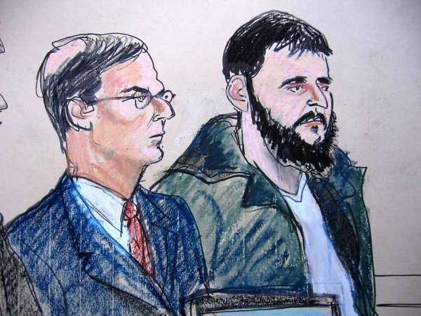 In this Jan. 9, 2010, courtroom sketch, defense