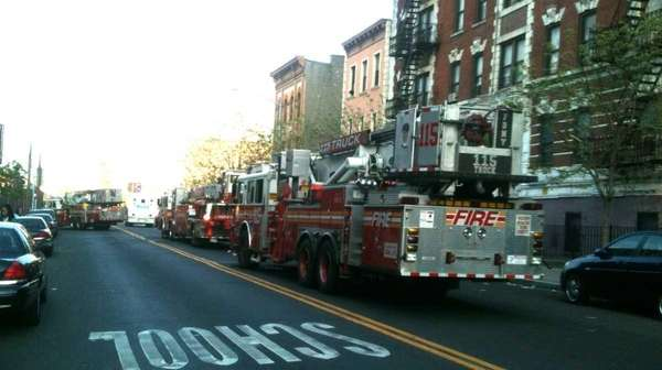 Scene of fire at 930 Flushing Ave. in
