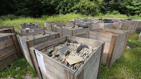 More than four dozen crates of Collyweston slate,