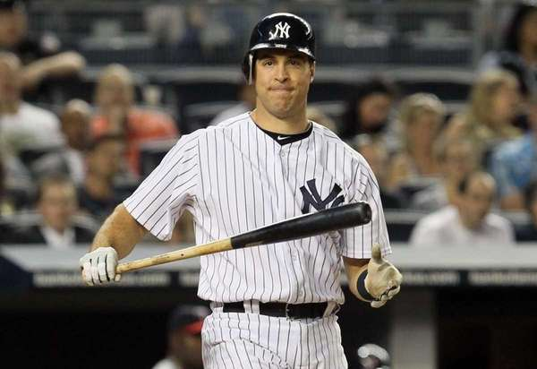 Mark Teixeira #25 of the Yankees reacts during