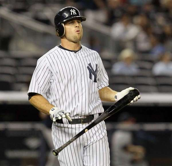 Brett Gardner reacts after lining out to end