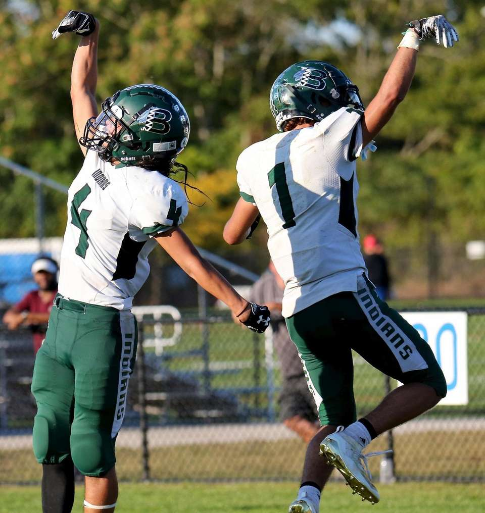 Brentwood's Kenny Lazo and Jaylen Salgado celebrate their