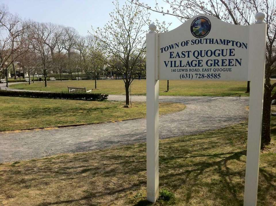 The East Quogue Village Green features a playground,