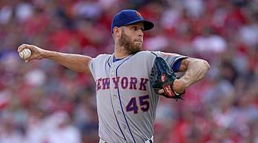 Zack Wheeler pitches during the game against the