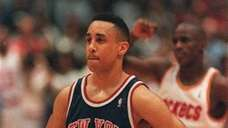 A dejected John Starks of the New York