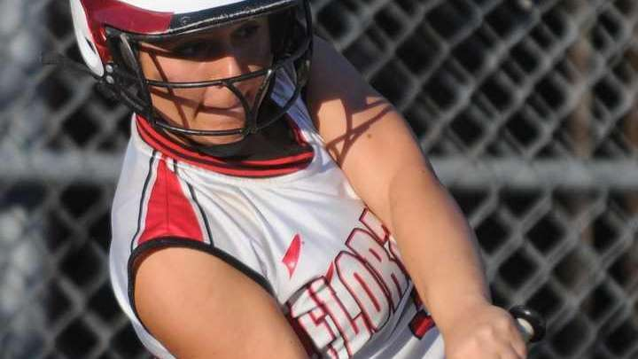 Floral Park's Angelica Titor lines a leadoff triple