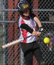 Floral Park's Samantha Perri hits an RBI single
