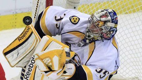 Nashville Predators goalie Pekka Rinne (35) of Finland