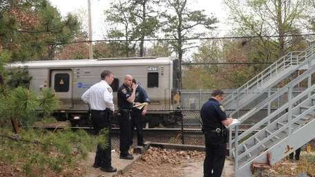 MTA police at Wyandanch train station at South