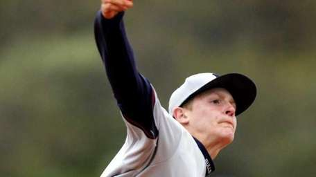 Smithtown West starting pitcher Chris Berte (8). (April