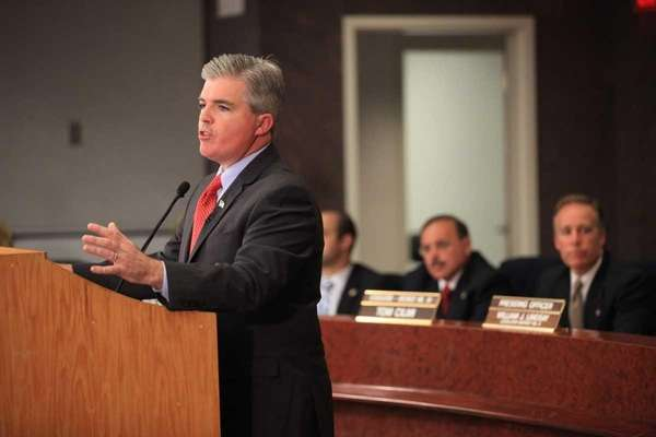 Suffolk County Executive Steve Bellone gives his first
