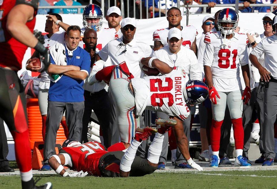 New York Giants running back Saquon Barkley gets