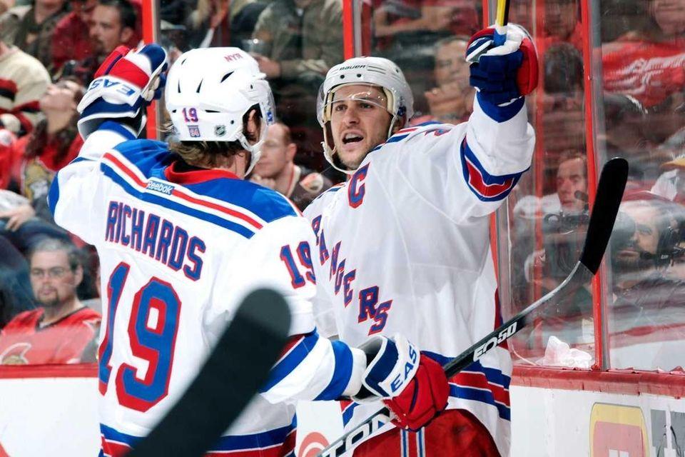 Ryan Callahan of the New York Rangers celebrates