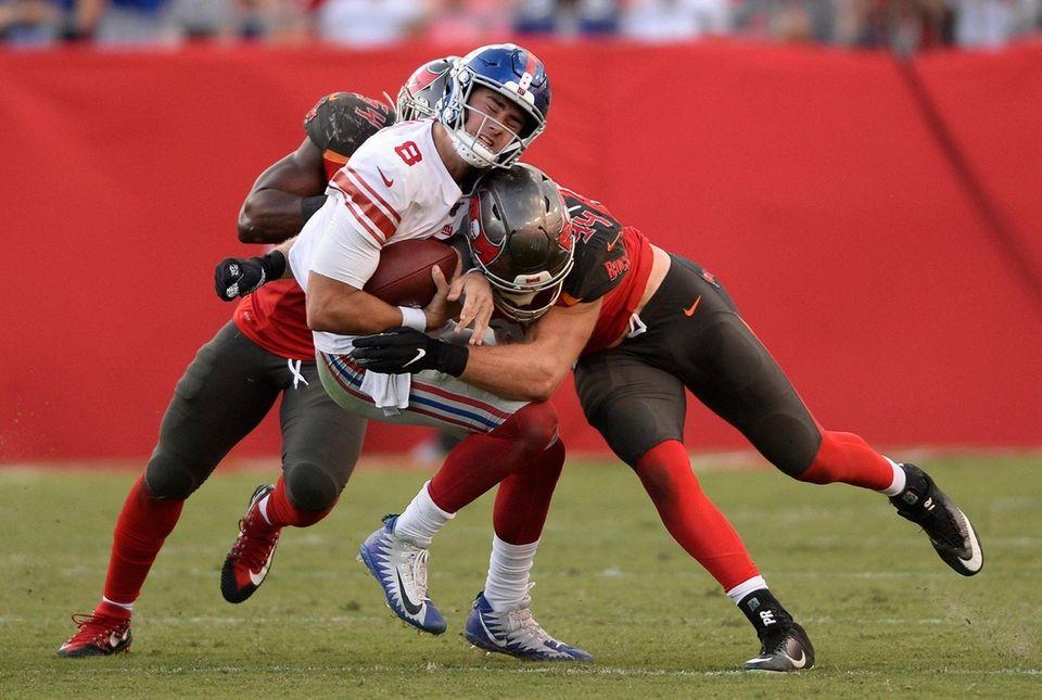 Giants quarterback Daniel Jones gets sacked by Tampa