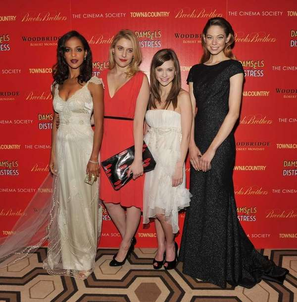 Actresses Megalyn Echikunwoke, Greta Gerwig, Carrie MacLemore, and