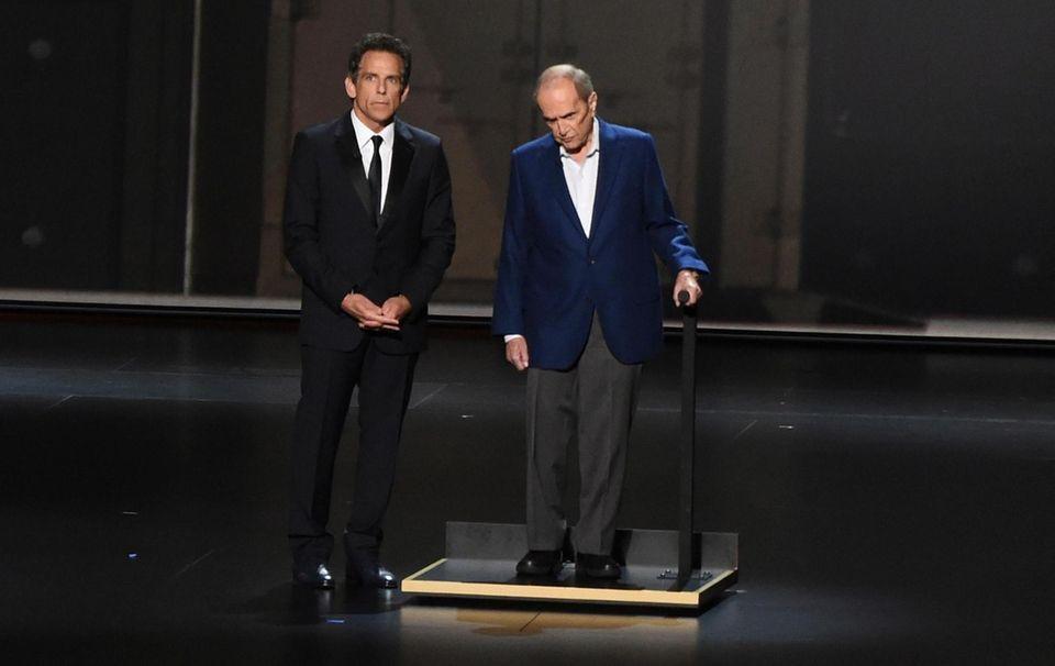Ben Stiller, left, and Bob Newhart appear on